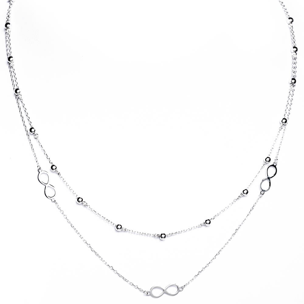 srebrny podwójny naszyjnik - producent - hurtownia